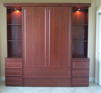 panel bed with book case cabinets image